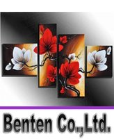 white flower oil - llfa1513 hand painted wall art White flowers red the wind landscape oil paintings on canvas set