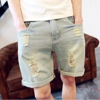 american boardshorts - Fashion Designer Mens Summer Loose Denim Distressed Ripped Jeans Shorts Washed Blue Casual Boardshorts for Men Size