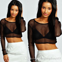 polyester mesh shorts - Sexy Womens Ladies Mesh Long Sleeve Hollow Out Pullover T Shirt Blouse Tops