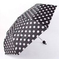 Wholesale Anti UV Rain Umbrella Black Dots Three folding Umbrella Fashion Creative Sun And Rain Umbrellas KT0150 Kevinstyle