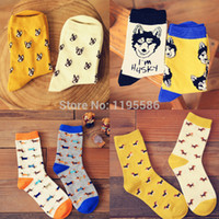 animal print gift box - Brand Caramella Unisex Creative Lovers Cotton Socks Women Cartoon Little Dog Socks Fashion Man Huskies Socks Gift Box
