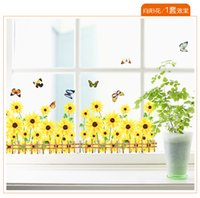 adhesive sunflowers - Warm Romantic Sunflower Skirting Line DIY Removable Wall Stickers Wall Decal Home Decor Wallpaper Small Size AM766B