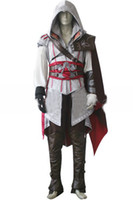 Wholesale Assassin Creed II Ezio Auditore da Firenze Cosplay Cos costumes For Men s Halloween Party Costumes