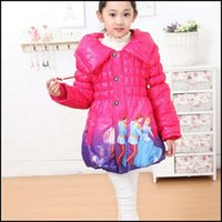 Wholesale Cinderella Jackets Colors Girls Cinderella Winter Coats Kids Long Sleeve Warm Outwear Cinderella Cotton Padded Clothes Pieces DHL