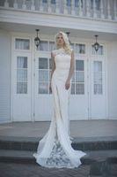 Cheap 2015 Boho Lace Wedding Dresses Bateau Neck A Line Sleeveless Chapel Train Chiffon White Ivory Hot Sale Custom Made Elegant Bridal Gowns