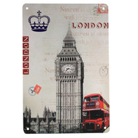 Wholesale 2015 New Fashion Decoration Vintage Metal Tin Sign Big Ben and Red Bus Advertising Store Supermarket Pub Bar Club Plaques