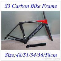 Wholesale 2016 S3 Road Carbon Bike Frame Black Red UD Weave BBRight Full Carbon road frame Frame Fork Seatpost Headset clamp