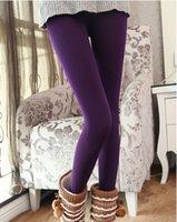 Wholesale J0042New winter autumn brushed significantly plus velvet Leggings galling development even foot warm pants purple