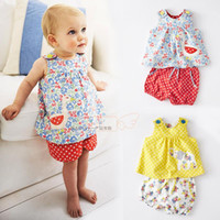 Cheap 5sets lot -2pcs baby clothing suit -Girls Sling small floral vest + Polka Dot Shorts - baby leisure suit