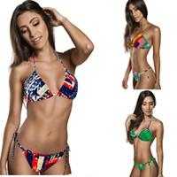 swimwear uk - 2015 lady Bikini Union Jack Flag Swimwear UK Stars Stripes Flag Twist Padded Flag Halter Bathing Suit Flag Bikini S404M
