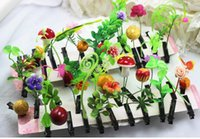 Wholesale WJF style D559 Grass hairpin Sprouts Flower Hairpins head grass Strange new Christmas gift