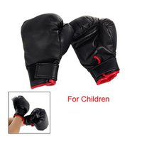 Wholesale IMC Black Faux Leather Sponge Pad Boxing Gloves Pair For Child kids Gift Play order lt no track