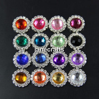 Wholesale 16mm Round Acrylic Rhinestone Button Flatback Mix Colors For Embellishment Hair Flower Wedding Party Supply Boutons