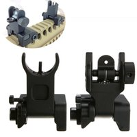 adjustable iron sights - High quality adjustable Flip up Front Rear Iron Sight Set Rapid Transition For A2 Mil Spec Low Profile for Hunting Gun Rifle