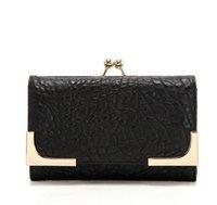 Wholesale P11 punk black classic solid Hasp Closure women PU money clip Wallet Purse Black New