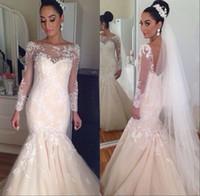 Cheap India Arabic Wedding Dresses 2015 Modest Long Sleeves Backless Mermaid Sheer Bateau Neck Illusion Court Train Bridal Gowns Dhyz