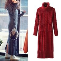 jumper cables - New Autumn Winter Women s Vintage High Roll Neck Ribbed Cable Knit Panel Fit Long Sleeve Maxi Sweater Jumper Dress