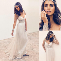 Garden anna campbell - Anna Campbell Vintage Wedding Dresses with Capped Sleeves Deep V Neck Beading Crystal Pregnant Bridal Dresses Gowns Custom Made