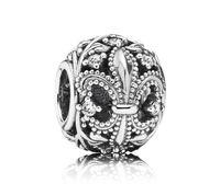 Wholesale 100 Sterling Silver Fleur de Lis Openwork Bead Fits European Pandora Style Charm Jewelry Bracelets