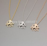 beaded octopus - New arrive Fashion Cute Octopus Necklace Octopus Pendant Sweet Jewelry for women girls gift