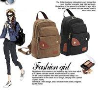 leather canvas laptop bag - Canvas Backpack Bag Women s Bag School Bag Vintage Style Travel Bag leather Laptop Military Rucksack Bags Swissgear Backpack FJ75