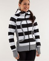 Wholesale lulu lemon Women Scuba Hoodies Black White Stripe Pattern Sports Lululemon Yoga Athletic Wears Low for a few by ems