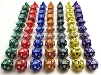 Wholesale 10pcs set with dice bag D4 D6 D8 D10 D D12 D20 dnd rpg Dice Set with Pearlized effect Multi color Board Game