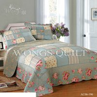 Wholesale 2015 New Bedspread Set Cotton Fashion Flower Checks Printed Coverlet Set Soft Comfortable Home Textiles for sale
