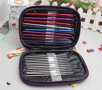 achat en gros de 22pcs aluminium crochet-100sets / lot 22pcs Aluminium Crochets Aiguilles Knit Stitches Weave Knitting Craft Case # R6U-5
