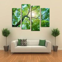 Cheap Luxry 4 Panels (No Frame)Green tree Painting Canvas Wall Art Picture Home Decoration Living Room Canvas Print Modern Painting