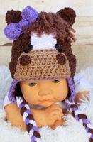 Girl Spring / Autumn Crochet Hats Free Shipping Spring Autumn Baby Boys Girls Cartoon Animal Hat Horse Pattern Newborn Infant Toddler Bow Headwear Kids Children Beanie Cotton