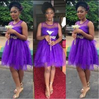 africa wears - 2016 New Short Prom Dresses Purple Tulle Homecoming Dress Africa Arbaic Plus Size Cheap Short Formal Dresses Party Evening Gowns