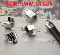 Cheap free shipping!!!1000pcs lot SILVER PLATED End Caps Crimp Beads brass crimp beads FOR 5MM leather cord