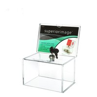 acrylic donation boxes - Pack units Locked Clear Acrylic Charity Donation Boxes With Removable Sign holder For Church Non profitable Collect Box YDP004