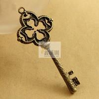 Wholesale pieces antique bronze plated vintage style metal zinc alloy key pendant charm diy jewelry hd2684
