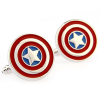 Wholesale Captain America shield wit Film styling men s cufflinks French cufflinks high quality best for you
