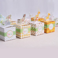 Favor Boxes Paper Square Giraffe elephant monkey tiger animals Baby Shower favors,Birthday Party Boxes, Children's day box and wedding box Free shipping