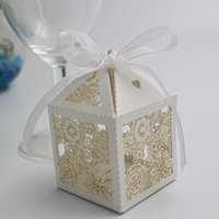 Wholesale 100pcs Laser Cut Paper Candy Box Flowers Pattern Wedding Party Chocolate Sweetmeat Holder Bag Gift Packing wc149