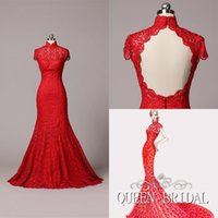 custom made cheongsam - 2015 Custom Made Cheongsam High Neck Sleeveless Open Back Red Qipao Heavy Lace Appliques Sexy Mermaid Evening Dresses QUEEN BRIDAL