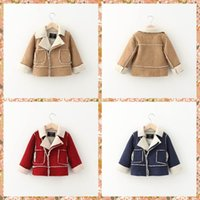 kids leather jackets - Western Fashion Babies Kids Suede Leather Fleece Lining Warm Christmas Jackets Outwears Candy Color Patchwork Zipper Warm Winter Coats