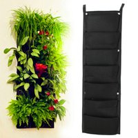 Wholesale 7 Pocket NEW Felt PC Outdoor Vertical Gardening Flower Pots and Planter Hanging Pots Planter On wall Green Field