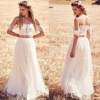 Wholesale Crop Top Two Pieces Wedding Dresses New Arrival Off Shoulder Beach Chiffon Wedding Dress Cheap Bridal Gown With Short Sleeves Plus Size