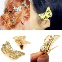Wholesale 2pcs pair Vintage Shiny Gold Hollow Butterfly Bridal Hair Pins Clip Headpiece Barrettes Hairgrips Hair Jewelry Accessories