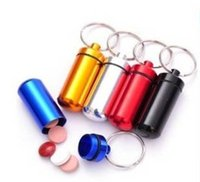 aluminium bin - 48 mm Pill Box keyring Metal Holder Case Container Waterproof Aluminium pill cntainer keychain Storage Boxes Bins Tablet