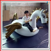 Wholesale Hot sale beautiful inflatable white pegasus pvc material inflatable swimming float by DHL freeshipping