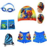 Wholesale Children Swimming Set Kids Boys Spiderman Swimming Cap Hat Trunks Cartoon Design Goggles Waterproof Bag Swim Ear Plugs
