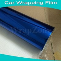 Wholesale 2015 Sale Carbon Fiber Vinyl Film Door Automobiles Top Quality Blue Chrome Vinyl Wrap with Air Drain fedex Size x20m roll