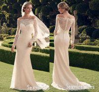Cheap 2016 Berta Style Full Lace Wedding Dresses Mermaid Design Long Sleeves Off Shoulder Trumpet Ivory Bridal Wedding Dresses Custom Made