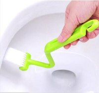 toilet bowl - Portable Toilet Brush cleaning brush Scrubber V type Cleaner Clean Brush Bent Bowl Handle washroom tool LJJH503