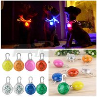 Wholesale Colors Fabulous Lovely Cute Pet Dog Puppy LED Flashing Collar Safety Night Light Pendant Dog Circular Blinker